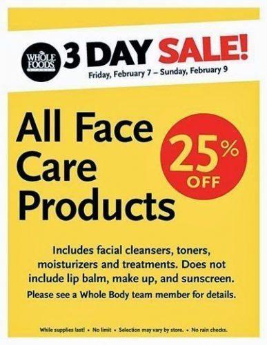 WFM Facial Care Sale 2