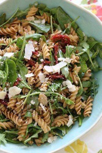 Summer-Pasta-Salad-with-Baby-Greens